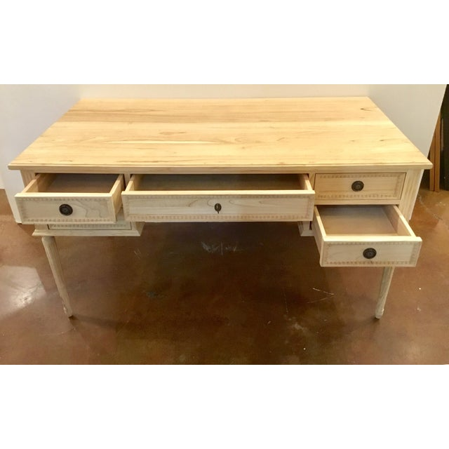 Ave Home Transitional Natural Wood Colette Writing Desk For Sale In Atlanta - Image 6 of 7