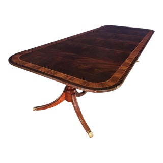 Leighton Hall Made-To-Order Multi-Banded Mahogany Dining Table For Sale