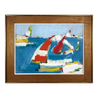 Augustin Costinescu 1981 Regatta Scene Painting For Sale