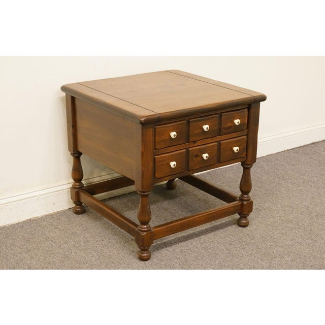 Traditional Late 20th Century Vintage Ethan Allen Pine Nightstand For Sale - Image 3 of 13