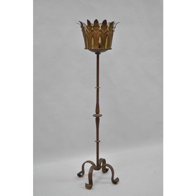 "Item: Antique 52"" Tall Gold Gilt Iron Gothic Candlestick Candle Holder Details: Heavy iron form, leafy headdress, single..."