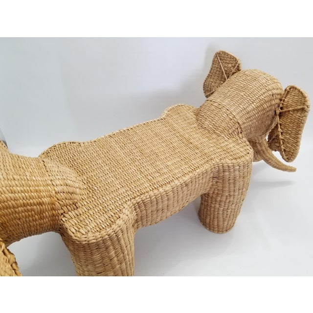 Mario Lopez Torres Elephant Bench - Signed 1974 -- Palm Beach Boho Chic Mid Century Modern Wicker Seagrass Animal For Sale - Image 9 of 13