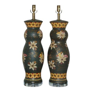 Vintage Italian Ceramic Deruta Hand Painted Lamps For Sale