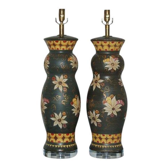 Vintage Italian Ceramic Deruta Hand Painted Lamps For Sale