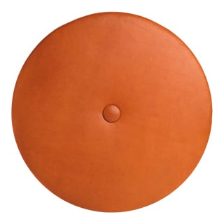Leather Drum Stacking Floor Cushion in Saddle by Moses Nadel For Sale