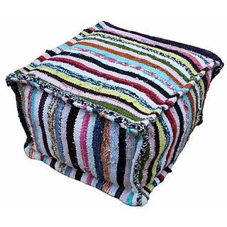 Striped Moroccan Handmade Berber Pouf For Sale