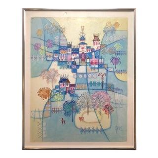 Heshi Yu Vintage Abstract Village Modernist Original Oil Painting For Sale