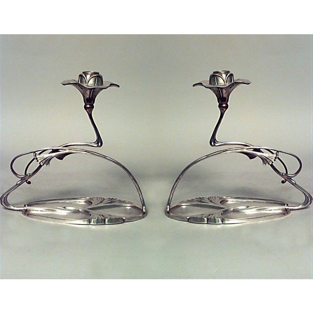 Pair of French Art Nouveau Silver Plate Candlesticks For Sale - Image 4 of 4