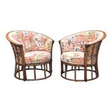 Image of Vintage Mid Century Heywood-Wakefield Rattan Barrel Chairs- A Pair For Sale