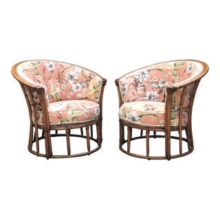 Vintage Mid Century Heywood-Wakefield Rattan Barrel Chairs- A Pair For Sale