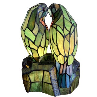 Tiffany Style Green Parrot Accent Lamp For Sale