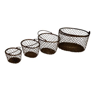 Vintage Brass Nesting Baskets - Set of 4