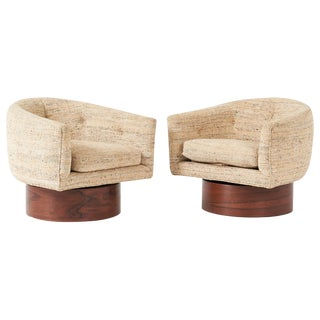 Milo Baughman Rosewood Swivel Chairs - a Pair For Sale