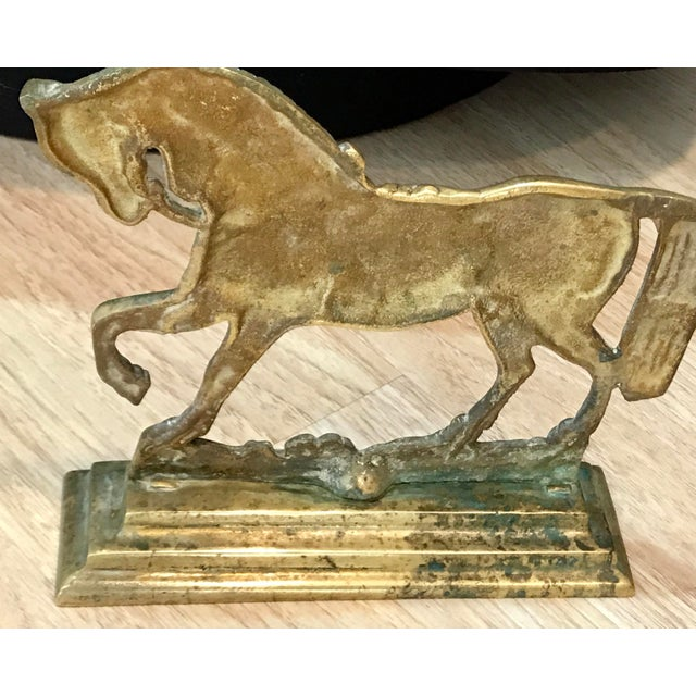 English Brass Horse Doorstop from the late 19th or early 20th century with no foundry markings.