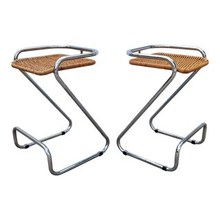 1970s Vintage Italian Mariani Attribute Sculptural Chrome and Woven Wicker Bar Stools- a Pair For Sale