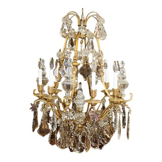 19th Century Antique Bronze & Crystal French Louis XV Style Versailles Chandelier Attrib. Baccarat For Sale
