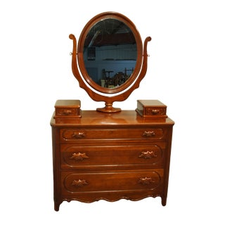 "20th Century Traditional Davis Cabinet Lillian Russell Collectors Cherry 47"" Dresser and Mirror With Glove Boxes For Sale"