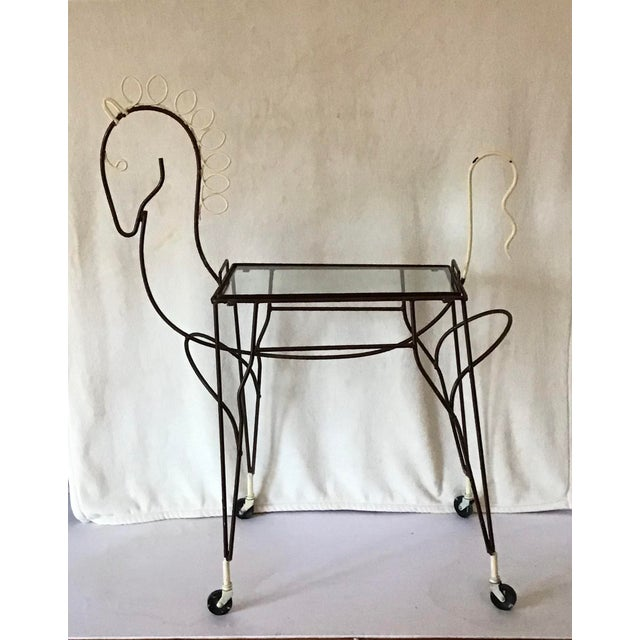 1950's Horse Pony Rolling Serving Bar Cart By Frederick Weinberg For Sale - Image 13 of 13