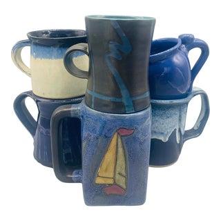 Mismatched Blue Nautical Studio Pottery Mugs - Set of 6 For Sale