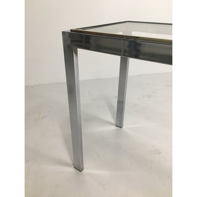 20th Century Minimalist Chrome and Glass Parsons Console Table With Brass Accents For Sale - Image 11 of 13