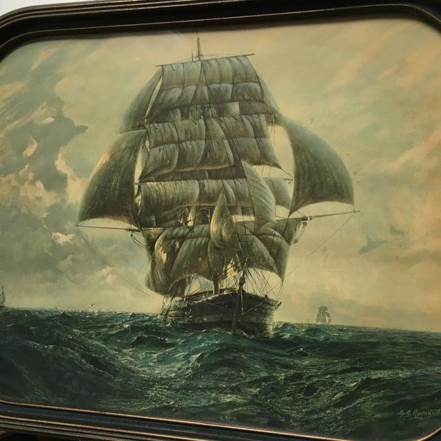 Antique Framed Ship Print For Sale - Image 10 of 11