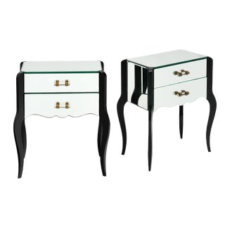 French Art Deco Period Mirrored Side Tables For Sale