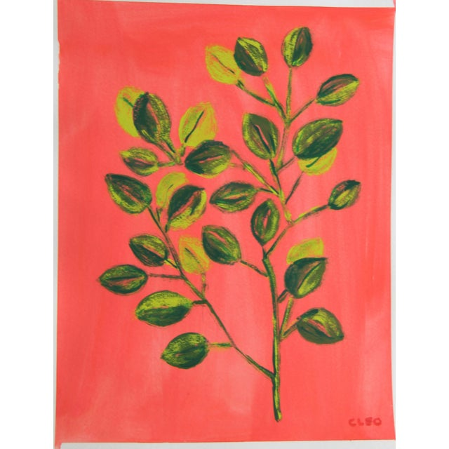 Contemporary Botanic Bamboo Chinoiserie Still Life Painting by Cleo Plowden For Sale - Image 3 of 8