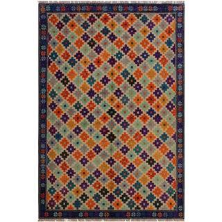 1990s Southwestern Balouchi Francesc Beige/Blue Wool Rug - 5'10 X 7'10 For Sale