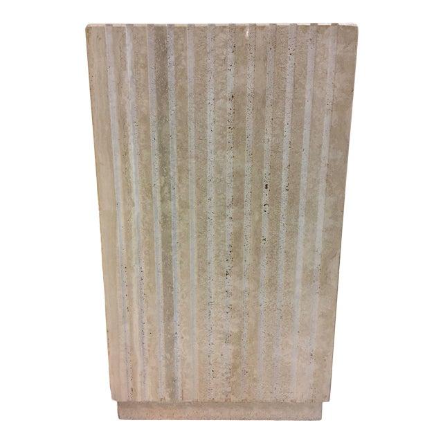 Vertical Cut Travertine Console Pedestal For Sale