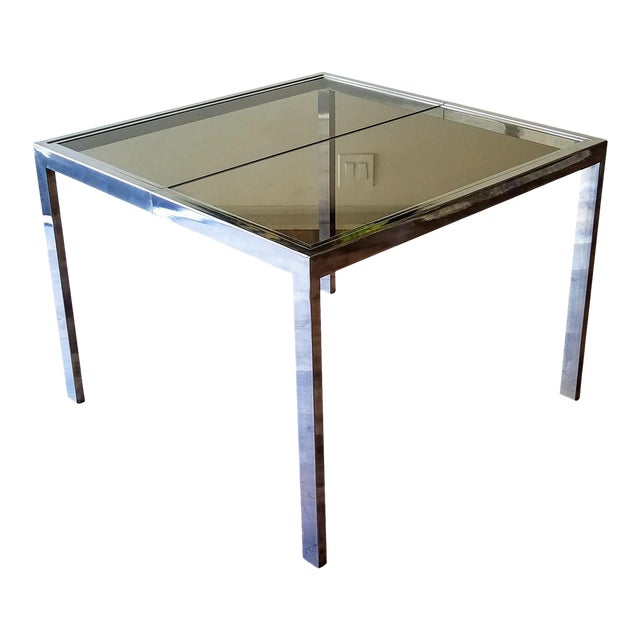 1970s Milo Baughman Square Chrome and Smoked Glass Dining Table For Sale