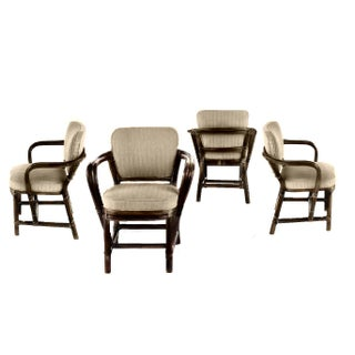Boho Chic McGuire Bamboo Rattan and Leather Dining Chairs - Set of 4