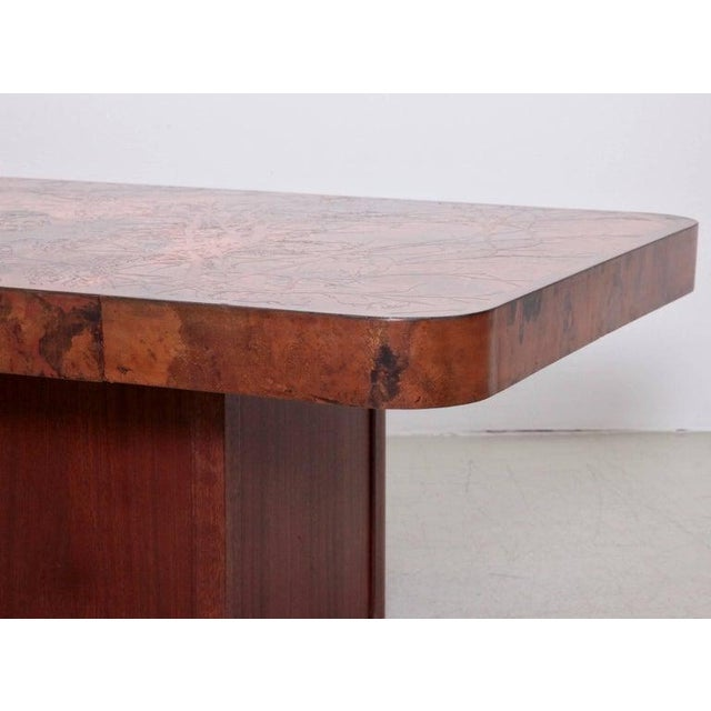 Mid-Century Modern Rare Huge Copper and Mahogany Coffee Table by Bernhard Rohne For Sale - Image 3 of 6