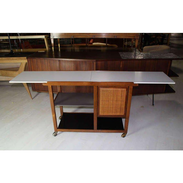 Mid-Century Modern Mid-Century Modern Flip-Top Walnut Serving Cart For Sale - Image 3 of 9