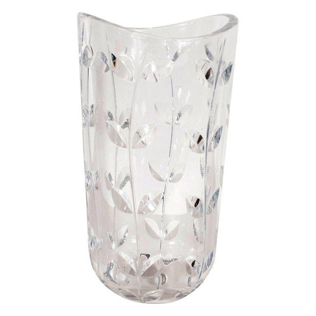 Large Modernist Crystal Vase With Incised Foliate Patterns by Tiffany & Co. For Sale - Image 11 of 11