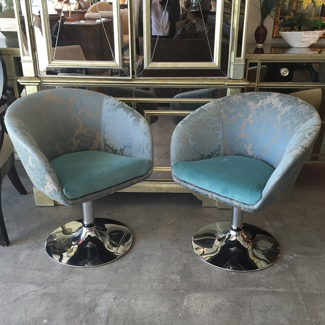Vintage Custom Teal Swivel Chairs - A Pair - Image 4 of 11