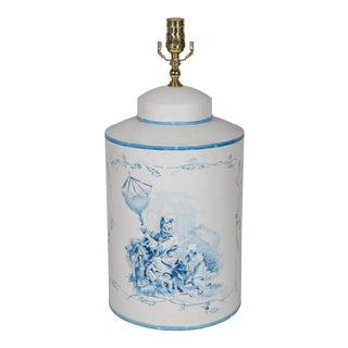 Vintage English Export Tea Caddy Hand-Painted Chinoiserie Figurines Table Lamp For Sale