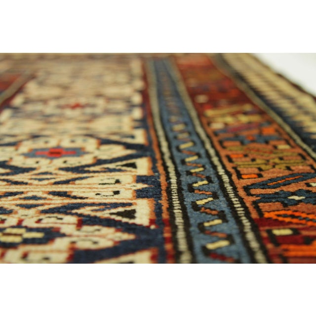 Antique Persian Rug Shirvan Design With Dainty Heart-Shaped Patterns Circa 1930's - 4′2″ × 9′8″ For Sale In Dallas - Image 6 of 12