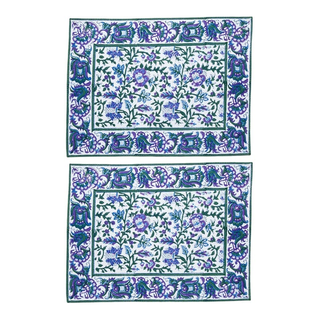 Aria Placemats Lavender & Blue - A Pair For Sale