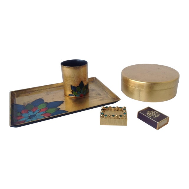 Gold Leaf Lacquered Smoke & Coaster Set For Sale