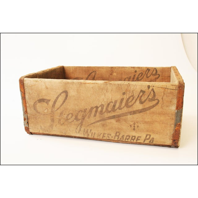 """VINTAGE WOOD CRATE MARKED """"STEGMAIER'S - WILKES BARRE, PA"""" Measures approx 8"""" tall x 12 1/2"""" x 19 1/4"""". Advertising is..."""