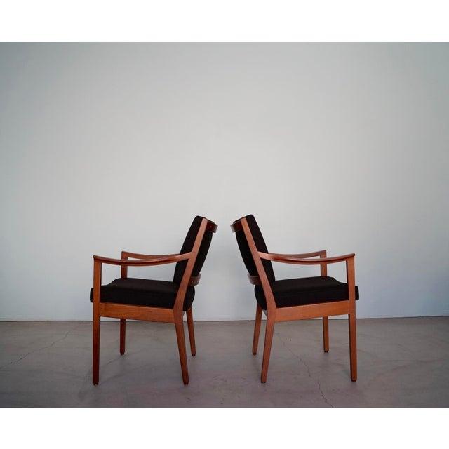 Mid-Century Modern Gunlocke Mid-Century Modern Walnut Armchairs - A Pair For Sale - Image 3 of 13