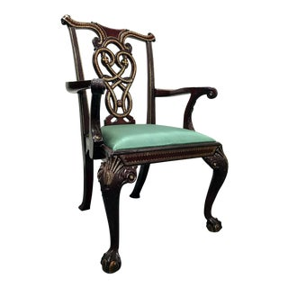 Maitland Smith Chippendale Ball Claw Leather Inlaid Armchair For Sale