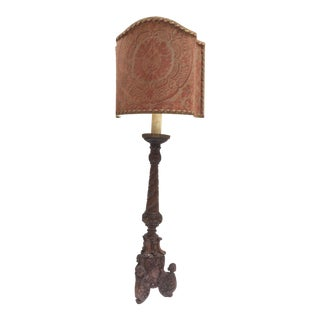 Fortuny Fabric Shade & Carved Wood Lamp For Sale