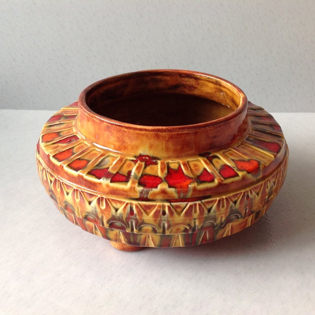 "1970s Brown and Red ""UFO"" Ceramic Planter - Image 2 of 11"