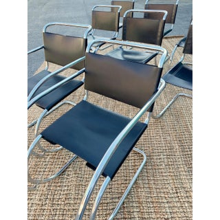 1980s Vintage Classic Leather Mies Van Der Rohe Mr10 Dining Chairs- Set of 8 Preview