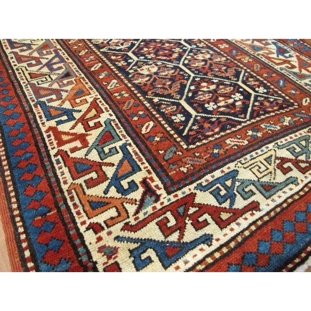 """Antique Shirvan Hall Runner Origin: Caucasus Circa: 1880 US Size: 3 ' 2 """" x 10 ' 3 """" Metric Size: 0.97 x 3.12 meters"""
