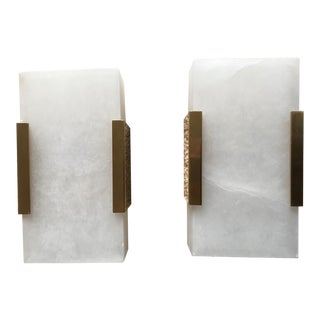 Contemporary Alabaster & Brass Sconces - a Pair For Sale