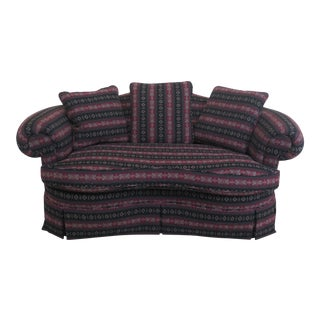 Crescent Shaped Fleece Upholstered Loveseat For Sale