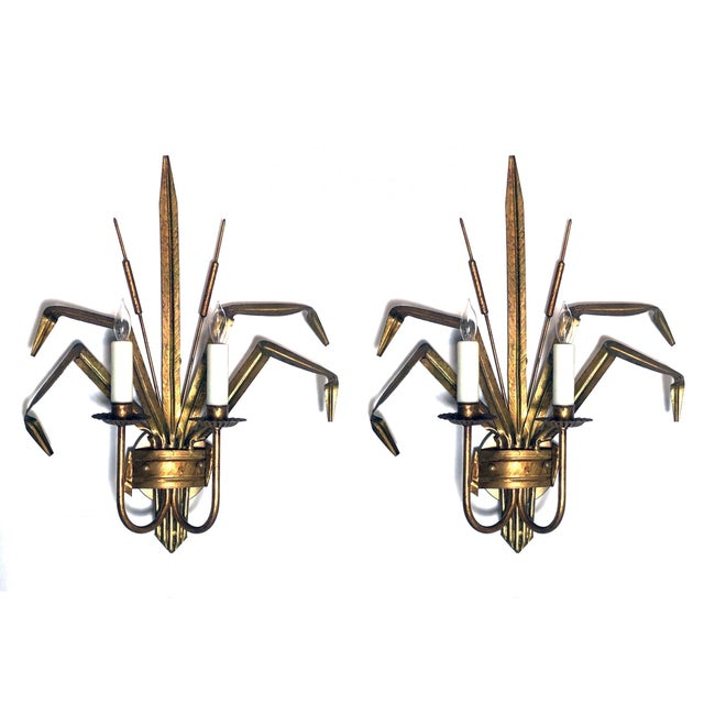 Italian 1960's Gilt-Tole 2-Arm Cattail Wall Lights/Sconces - a Pair For Sale In San Francisco - Image 6 of 6