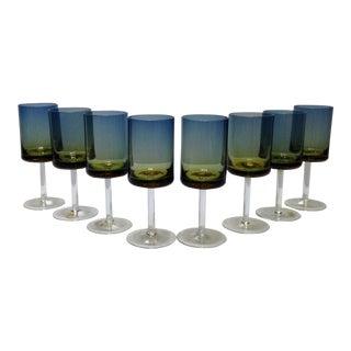 Blue Amberina Ombré Goblets - Set of 8 For Sale